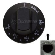 UNIVERSAL OVEN CONTROL KNOB FOR GRILL AND 6mm SHAFT 0°C - 260°C PLUS GRILL